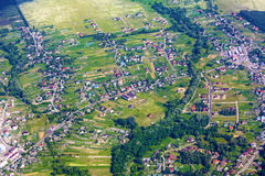 Aerial view of city suburb Stock Photos