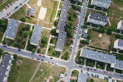 Aerial view of city suburbs Stock Images