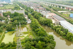 Aerial view City suburbs scenery Stock Photo