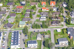 Aerial view of city suburbs Royalty Free Stock Images
