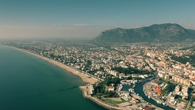 Aerial view of city of Terracina in low season. Italy royalty free stock image