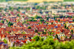 Aerial view of city with tilt-shift effect. Germany. Royalty Free Stock Photos