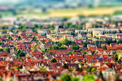 Aerial view of city with tilt-shift effect. Germany. Stock Photography