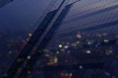 Aerial view of city tower reflection in window glass, Bangkok Th Stock Images