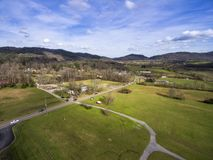 Aerial view city of Townsend in Tennessee next to the Smoky Mountains