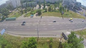 Aerial view city traffic in residential area, cars on street. Stock footage stock video