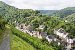 Aerial view of city Trarbach with vineyards stock photos