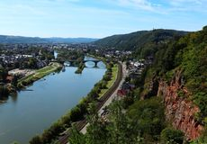 Overlooking Trier, Germany on a hot autumn day royalty free stock photos