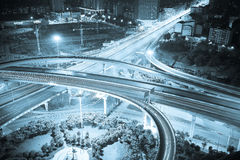 Aerial view of city viaduct road night scene Stock Photo