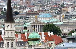 Aerial view of the city of vienna with parlament Stock Images