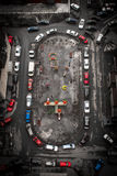 Aerial view of city yard with autos Royalty Free Stock Image