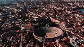 Aerial view Cityscape Arena of Verona city and Arena, Italy drone.  stock video footage