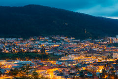 Aerial view Cityscape of Bergen from mountain top Stock Photos