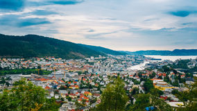 Aerial view Cityscape of Bergen, Norway Stock Photos