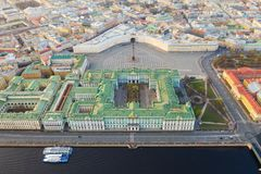 Aerial view cityscape of city center, Palace square, State Hermitage museum (Winter Palace), Neva river. Saint Petersburg skyline. SPb, Russia stock photo