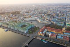 Aerial view cityscape of city center, Palace square, State Hermitage museum (Winter Palace), Neva river. Saint Petersburg skyline. SPb, Russia stock photography