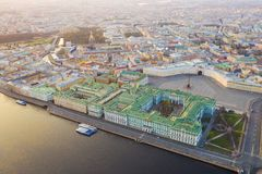 Aerial view cityscape of city center, Palace square, State Hermitage museum (Winter Palace), Neva river. Saint Petersburg skyline. SPb, Russia stock image