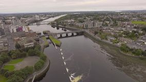 Aerial view cityscape of limerick city skyline, ireland stock video footage