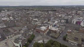 Aerial view cityscape of limerick city skyline, ireland stock footage
