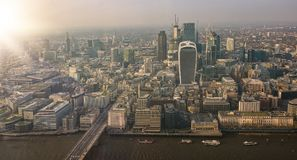 Aerial view cityscape of london. Aerial panoramic cityscape view of London and the River Thames, England, United Kingdom Stock Photo
