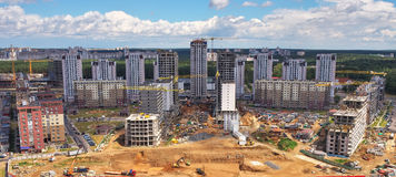 Aerial view, cityscape of Minsk, Belarus. Construction of new hi Stock Image