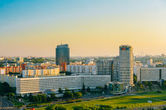 Aerial view, cityscape of Minsk, Belarus. Summer season, sunset Royalty Free Stock Image