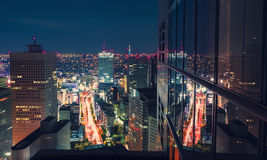 Aerial view cityscape at night in Tokyo, Japan from a skyscraper Royalty Free Stock Photo