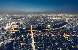 Aerial view cityscape at night Stock Photos