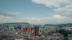Aerial view of cityscape of Quito,. Modern capital city of Ecuador from above, Andes mountains on background stock video