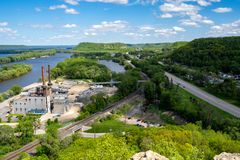 Aerial view of a cityscape of Red Wing, Minnesota, as seen from the Barn Bluff overlook hike. Taken in late spring, view of Lake. Pepin royalty free stock images