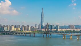 Aerial view cityscape of Seoul, South Korea. Aerial View Lotte tower at Jamsil. View of Seoul with river