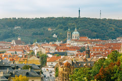 Aerial view of cityscape and St. Nicholas Church Royalty Free Stock Photography