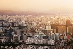Aerial view cityscape on sunset, downtown of seoul, travel conce Stock Images