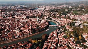 Aerial view Cityscape of Verona city and Arena, Italy drone, Veneto region.  stock video
