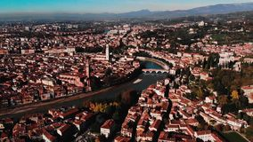 Aerial view Cityscape of Verona city and Arena, Italy drone, Veneto region.  stock footage