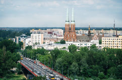 Aerial view of Cityscape of Warsaw, Poland Stock Photos