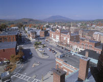Aerial View of Claremont, NH. Downtown Claremont, New Hampshire in autumn Stock Photo