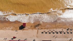 Aerial view of the polluted sea coast. Muddy sea water. Chemical disaster. Drone. Aerial view of clay-polluted sea coast. Muddy sea water. Environmental stock footage