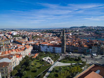 Aerial view of Clerigos church, Ribeira - the old town of Porto, Portugal. Stock Photography
