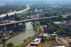 Aerial view of Cleveland, Ohio river Royalty Free Stock Images