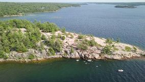Cliff jumping, Killbear provincial park stock video