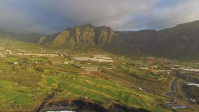 Aerial view of cliffs and Atlantic ocean on Tenerife, drone shot from above, Canarias islands, Spain. Aerial view of cliffs and Atlantic ocean on Tenerife, drone stock footage