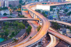 Aerial view, close up highway intersection S curved Royalty Free Stock Photography