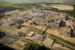 Aerial view of closed automotive assembly factory. Aerial view of the closed General Motors assembly factory in Janesville Wisconsin Royalty Free Stock Photo
