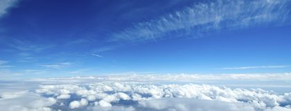 Aerial view of clouds over the earth. Stock Photo