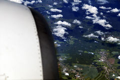 Aerial View of Cloud Covered Land Stock Images