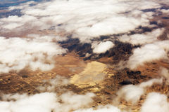 Aerial view of clouds over the land, the landscape. Stock Photography