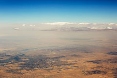 Aerial view of clouds over the land, the landscape. Stock Images