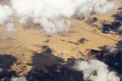 Aerial view of clouds over the land, the landscape. Stock Image