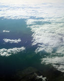 Aerial view of cloudscape. Aerial view of cloud formations over mountains Stock Photography
